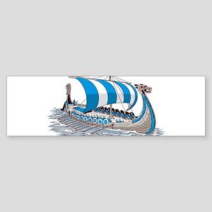 Blue Viking Ship Bumper Sticker