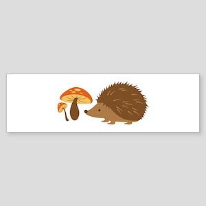 Hedgehog with Mushrooms Bumper Sticker