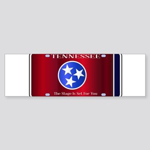 Tennessee State License Plate Flag Bumper Sticker