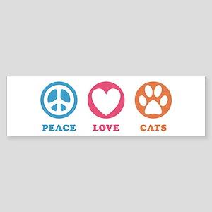 Peace Love Cats [r] Sticker (Bumper)
