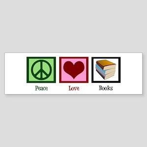 Peace Love Books Sticker (Bumper)