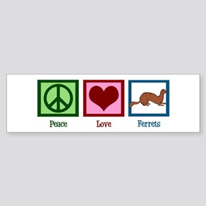 Peace Love Ferrets Sticker (Bumper)