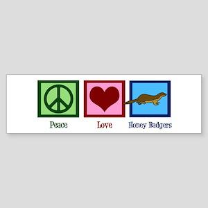 Peace Love Honey Badgers Sticker (Bumper)