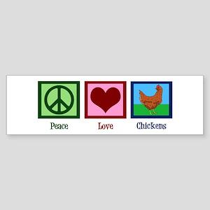 Peace Love Chickens Sticker (Bumper)
