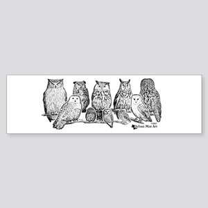 Owls - Ink Drawing Bumper Sticker