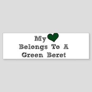 My Heart Belongs To A Green Beret Bumper Sticker