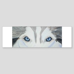 Siberian Husky Blue Eyes Pain Bumper Sticker