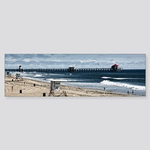 Huntington Beach Pier Landscape Sticker (Bumper)