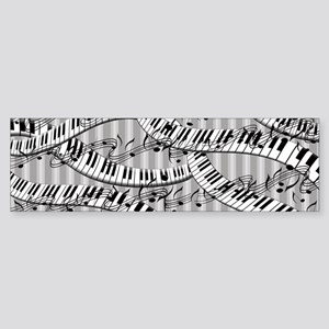 Striped Piano Keyboards And Music Sticker (Bumper)