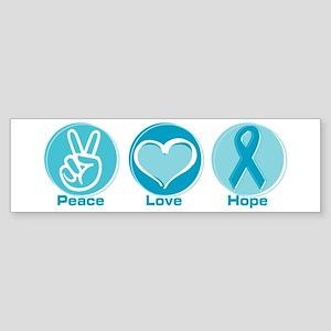 Peace Love Teal Hope Sticker (Bumper)