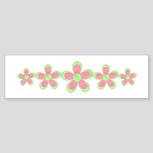 Pink and Green Flowers Bumper Sticker