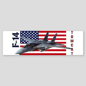 F-14 Tomcat on a USA flag Bumper Sticker