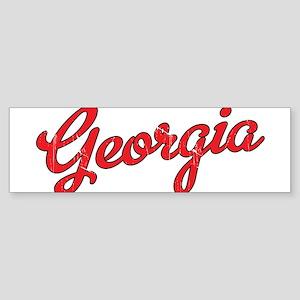 Georgia Script Red VINTAGE Sticker (Bumper)