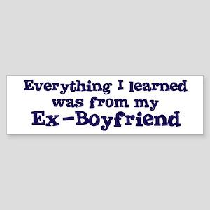 Ex-Boyfriend : Everything Bumper Sticker