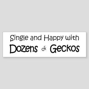 Single & Happy With Geckos Bumper Sticker