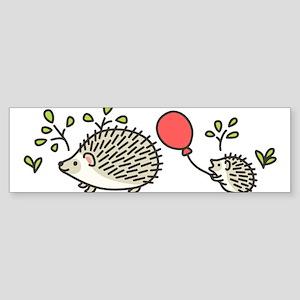 Baby Hedgehogs Red Balloon Bumper Sticker