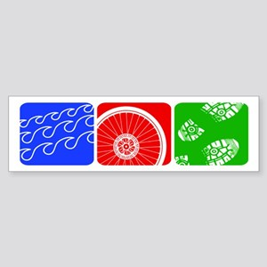 Triathlon TRI Swim Bike Run Blocks Bumper Sticker