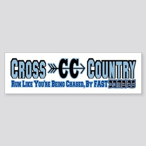 Cross Country Zombies Chasing Sticker (Bumper)