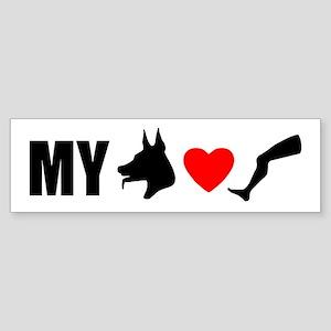 My Dog Hearts Leg Bumper Sticker