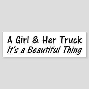 A Girl And Her Truck Bumper Sticker
