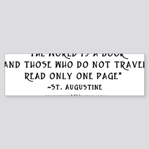 World is a book - White Sticker (Bumper)