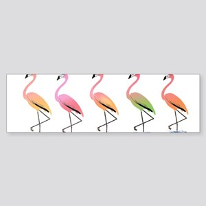 March of the Tropical Flamingos Bumper Sticker