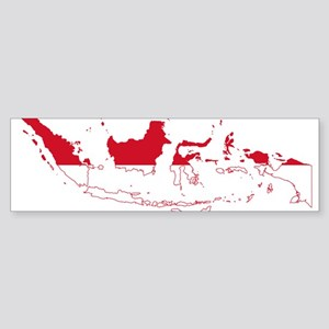 Indonesia Flag and Map Sticker (Bumper)