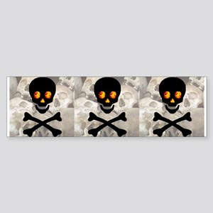 Flaming Skull Pile Bumper Sticker 3 in 1