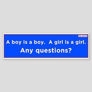 A Boy Is A Boy -A Girl Is A Girl / Lbumper Sticker