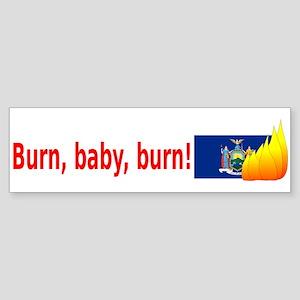 New York State Flag Burn (wide) Bumper Sticker