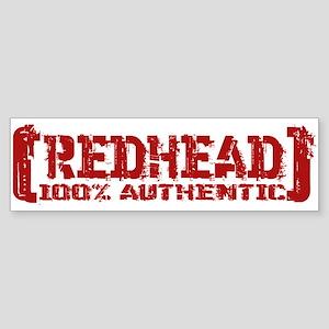Redhead Tattered - 100% Athntc Bumper Sticker