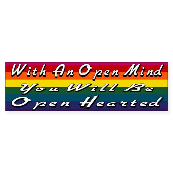 Open Mind outline 3 Rainbow bumper sticker