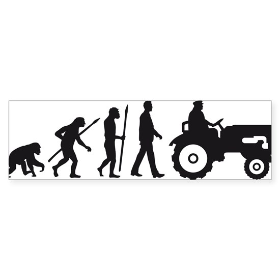 evolution of man farmer with a tractor
