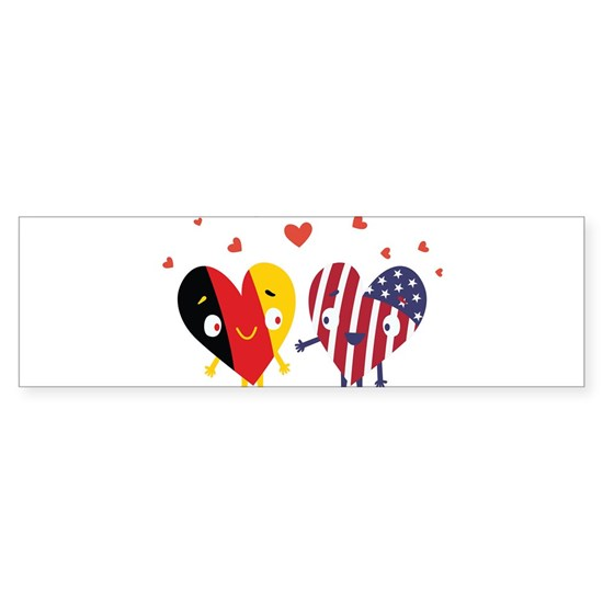 German and American Flag design USA Heart Gift