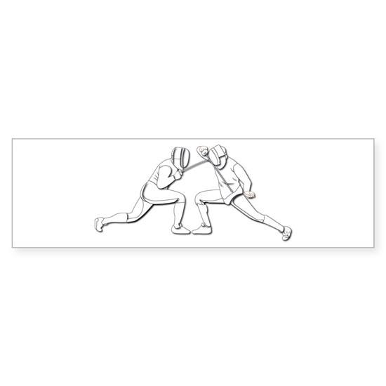 Sport - Fencing - 2 Fencers - Silhouette- White
