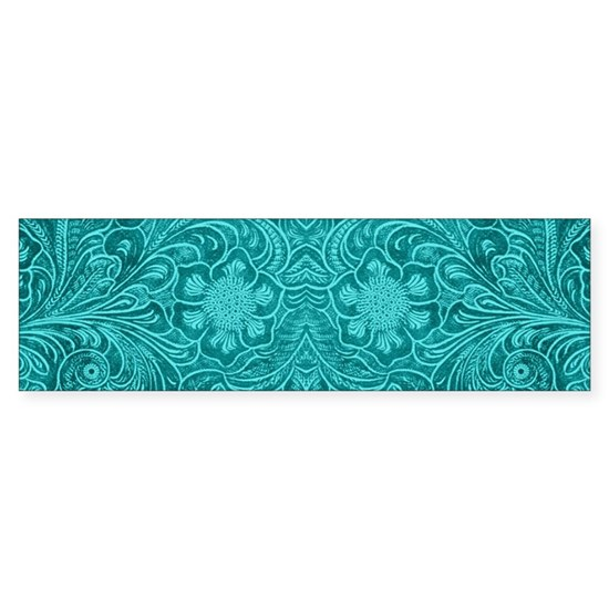 Teal Green Faux Suede Leather Floral Design