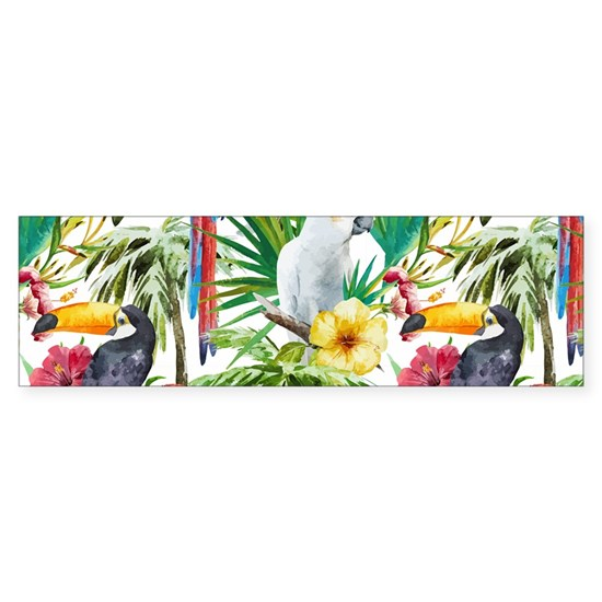 Tropical Flowers and Macaw