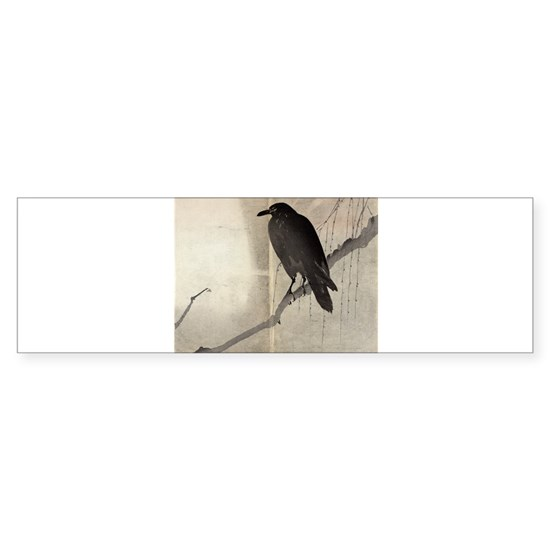 Crow On A Willow Branch - anon - c1880 - watercolo