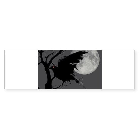 Nighttime Raven in Branch with Full Moon