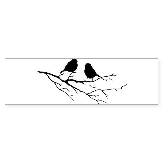 Two Little white Sparrow Birds Black silhouette