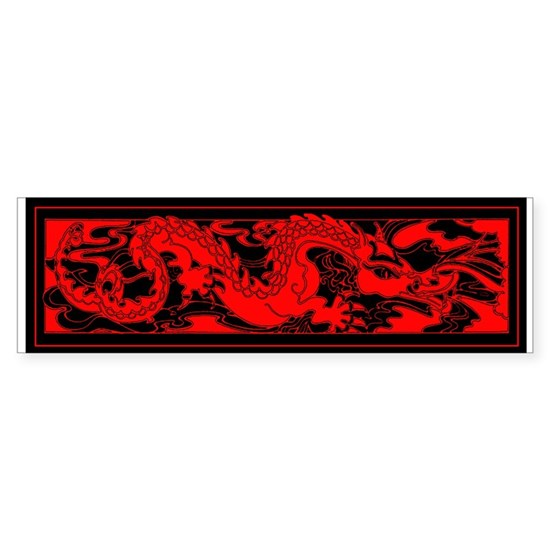 Chinese Red Dragon On Black