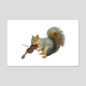 Squirrel Violin Mini Poster Print