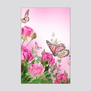 Butterfly Flowers Mini Poster Print