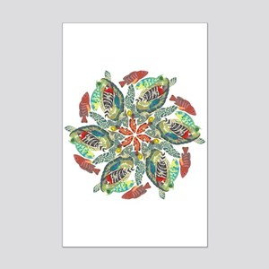 green and red fish snowflake  Mini Poster Print