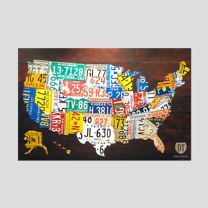 United States License Plate Map Mini Poster Print