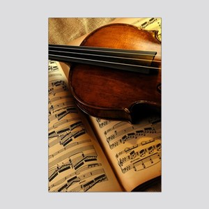 Violin On Music Sheet Poster Print (Mini)