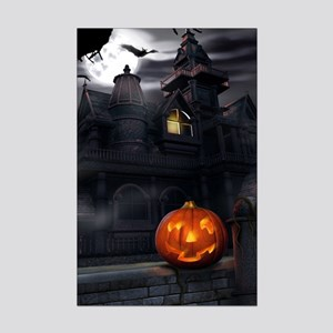 Halloween Pumpkin And Haunted House Poster Print (