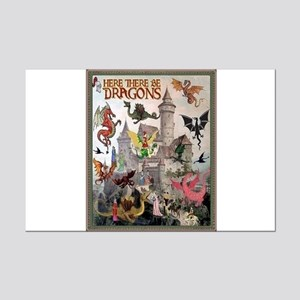 There Be Dragons Mini Poster Print