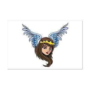 Winged Angel Girl Tattoo Mini Poster Print