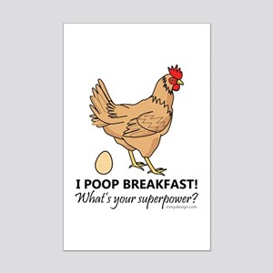 Chicken Poops Breakfast Funny De Mini Poster Print